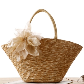 Ericdress Satin Flower Knitted Straw Handbag