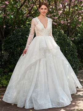 Ericdress Ball Gown Long Sleeves V-Neck Wedding Dress