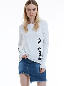 Ericdress Slim Letter Print Plain Women's T-shirt
