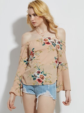 Ericdress Slash Neck Flower Print Women's Blouse