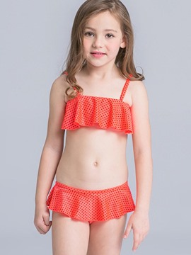 Ericdress Hollow Plain Falbala Girls Bikini Set