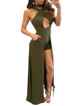 Ericdress Sleeveless Tight Green Women's Jumpsuits