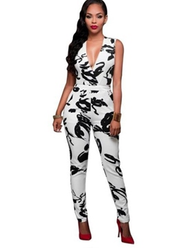 Ericdress V-Neck Sleeveless Flower Print Tight Women's Jumpsuits
