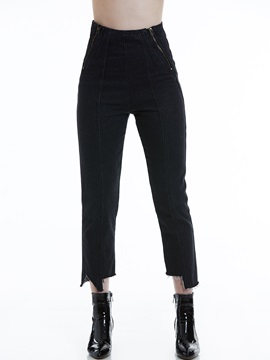 Slim Plain Zipper Pocket Women's Jeans