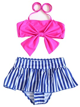 Ericdress bowknot halter top stripe bottom girls bikini set