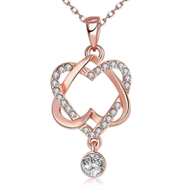Ericdress Heart to Heart Diamante Rose Gold Necklace