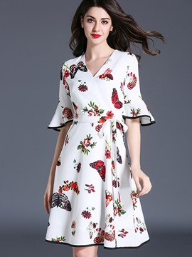 Ericdress Pastoral Print Bowknot Ruffle Sleeve Casual Dress