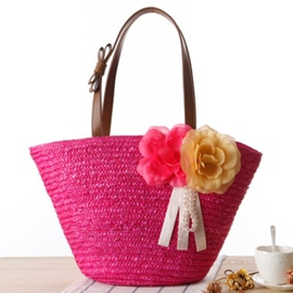 Ericdress Solid Color Knitted Straw Handbag