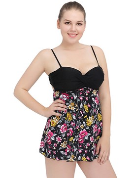Ericdress Pleated Print Tankini Plus Size Swimwear