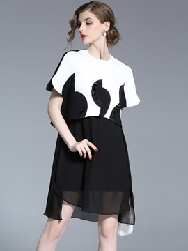 Ericdress Color Block Mesh Double-Layer Casual Dress
