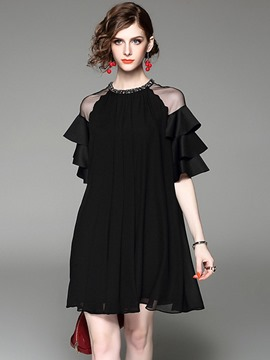 Ericdress Plain Ruffles Half Sleeves Casual Dress