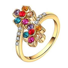 Ericdress Splendid Zircon Inlay Flower Wedding Ring