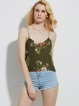 Ericdress Loose Spaghetti Straps Flower Print Tank Top
