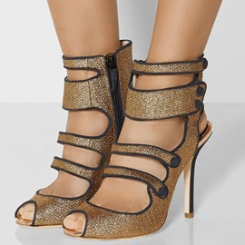 Ericdress Buckle Hollow Peep Toe Stiletto Heel Sandals