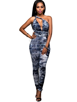 Ericdress V-Neck Light Blue Tight Women's Jumpsuits