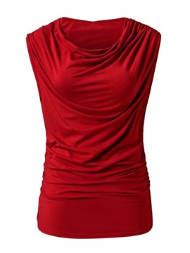 Ericdress Solid Color Pleated Tank Top