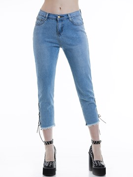 Slim Tassel Side Lace-Up Women's Jeans