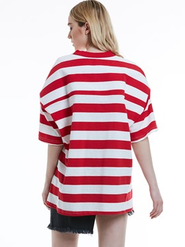 Ericdress Loose Color Block Stripe Women's T-shirt