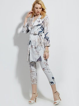 Ericdress Plant Print Belt Trench Coat