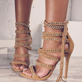Ericdress Chain Tassel Open Toe Heel Sandals
