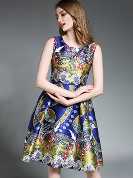 Ericdress European Print Sleeveless Ball Gown A Line Dress