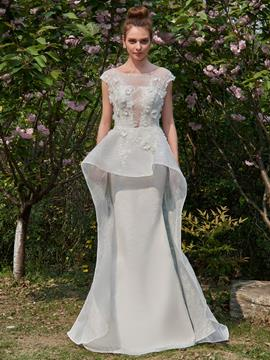 Ericdress Lace Mermaid Watteau Cap Sleeves Wedding Dress
