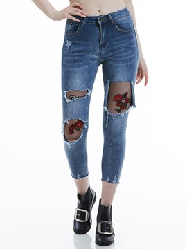 Slim Floral Embroidery Ripped Worn Women's Jeans