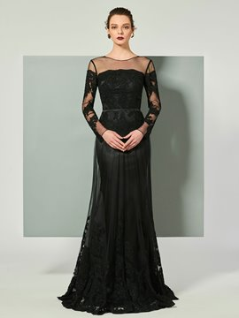 Ericdress Sheath Long Sleeve Applique Floor Length Evening Dress