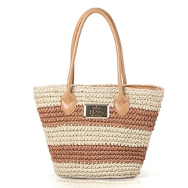 Ericdress Color Block Stripe Straw Handbag