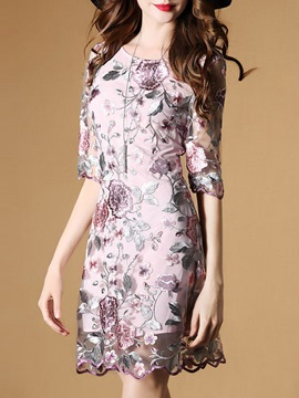 Ericdress Floral Print Half Sleeve Embroidery Casual Dress