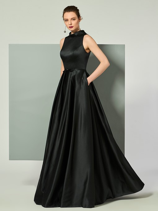 Ericdress Vintage High Collar Satin Floor Length Long Evening Dress