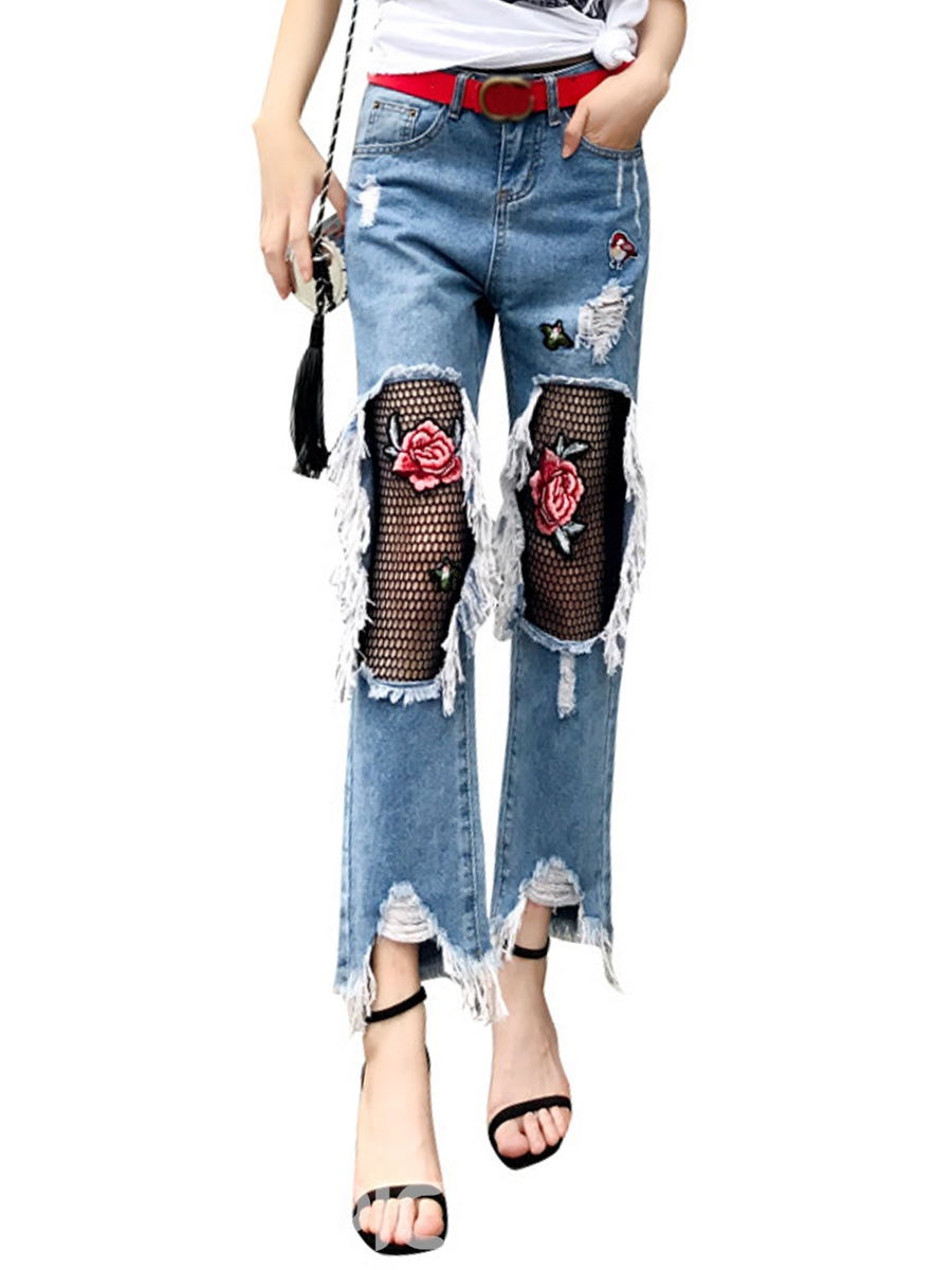 Ericdress Low Waisted Worn-out Flower Print Womens Jeans