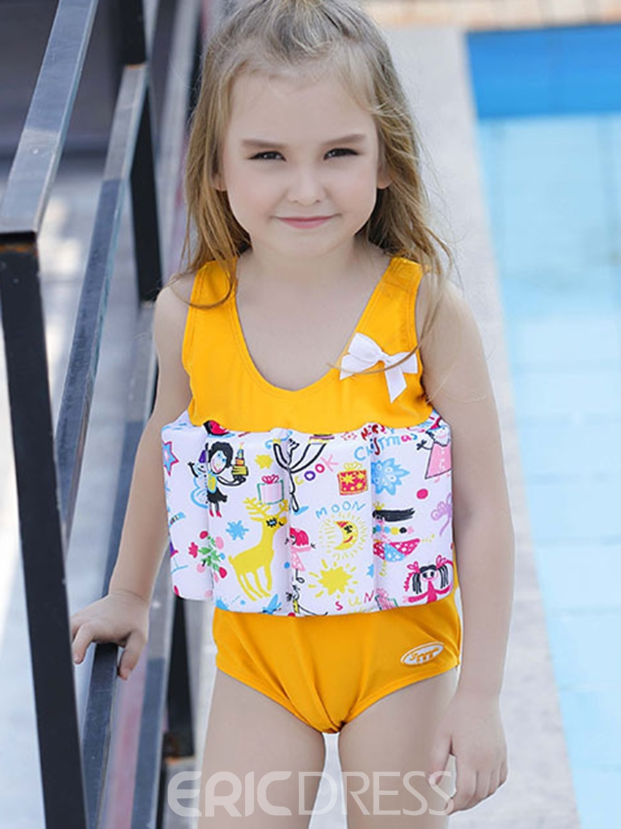 Ericdress Cartoon Printed Girls One-Piece Buoyancy Swimsuit
