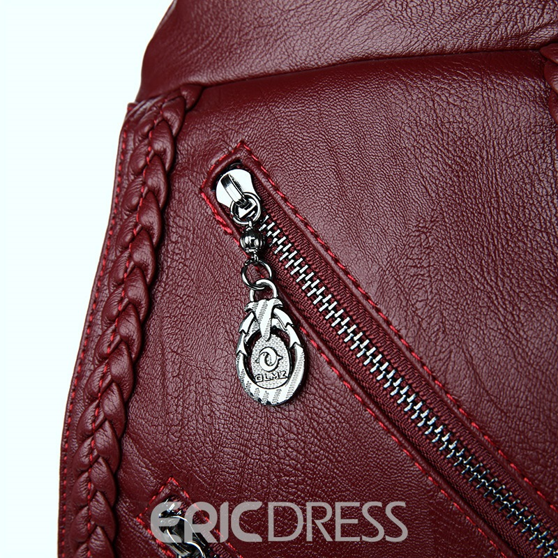 Ericdress Inclined Zipper Knitted Cowhide Backpack