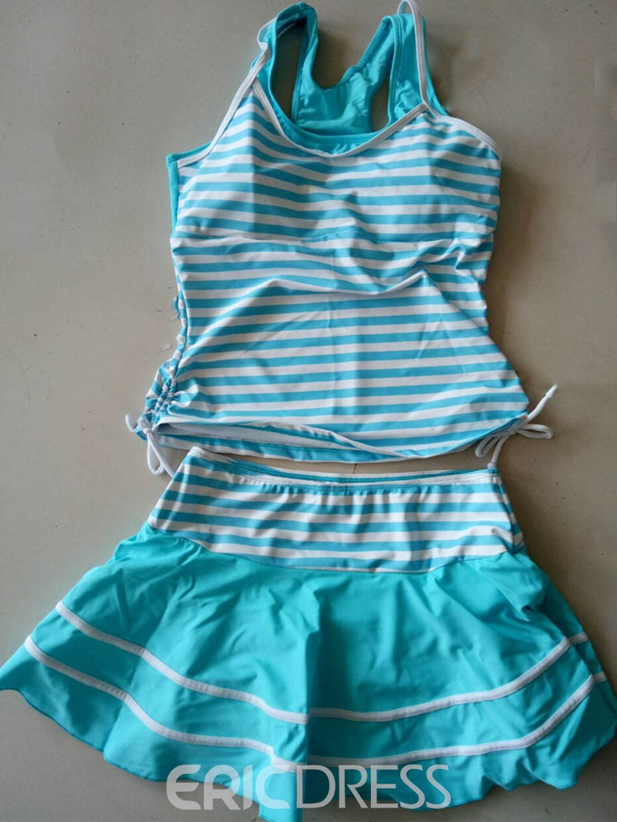 Ericdress U Collar Sleeveless Stripe Tankini Set (Plus Size Available)