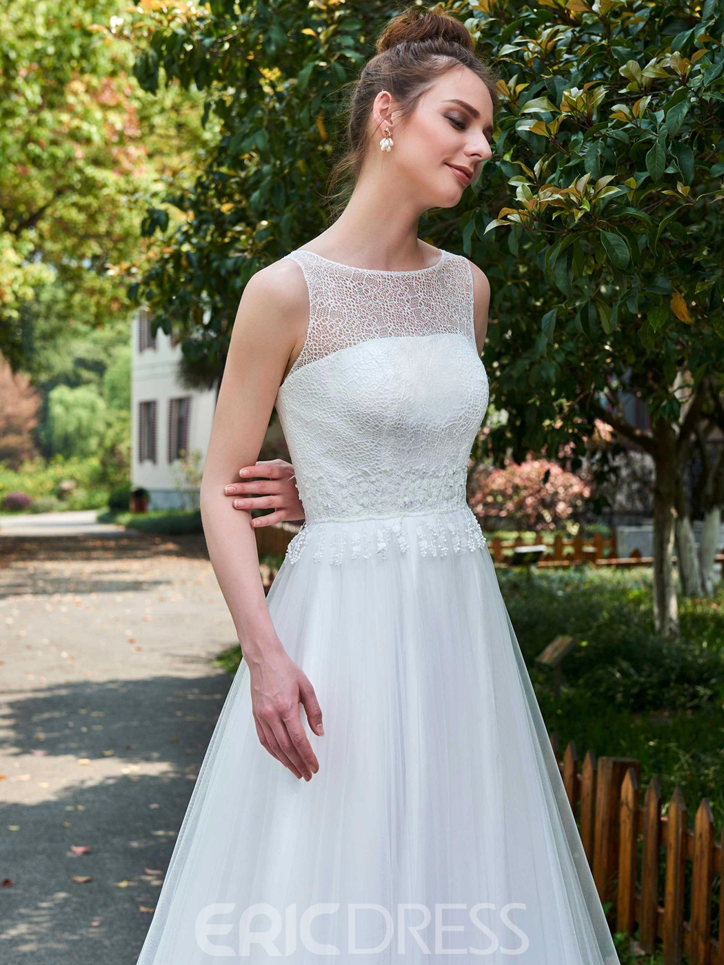 Ericdress A-Line Sleeveless Tulle Wedding Dress