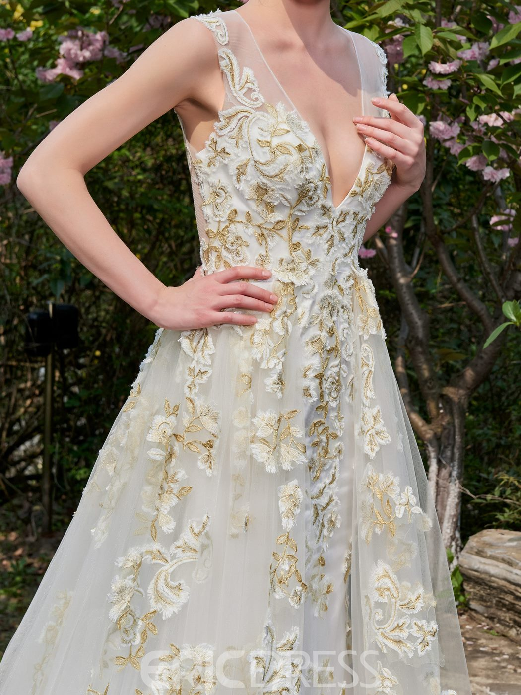 Ericdress Sexy A-Line Colored Appliques Deep V-Neck Wedding Dress