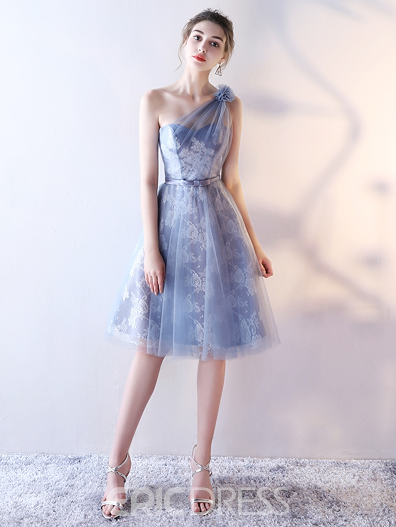 Ericdress A Line One Shoulder Lace Knee Length Homecoming Dress