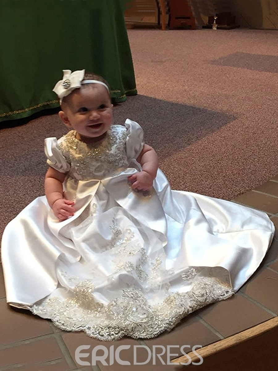 Ericdress Beading Appliques Infant Girls Christening Gown with Headband