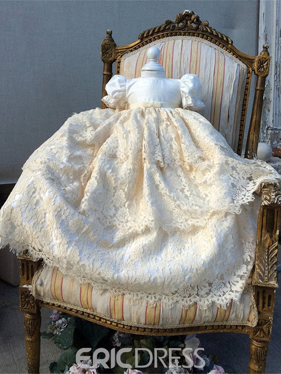 Ericdress Luxury Beading Lace Baby-Girls Christening Gown