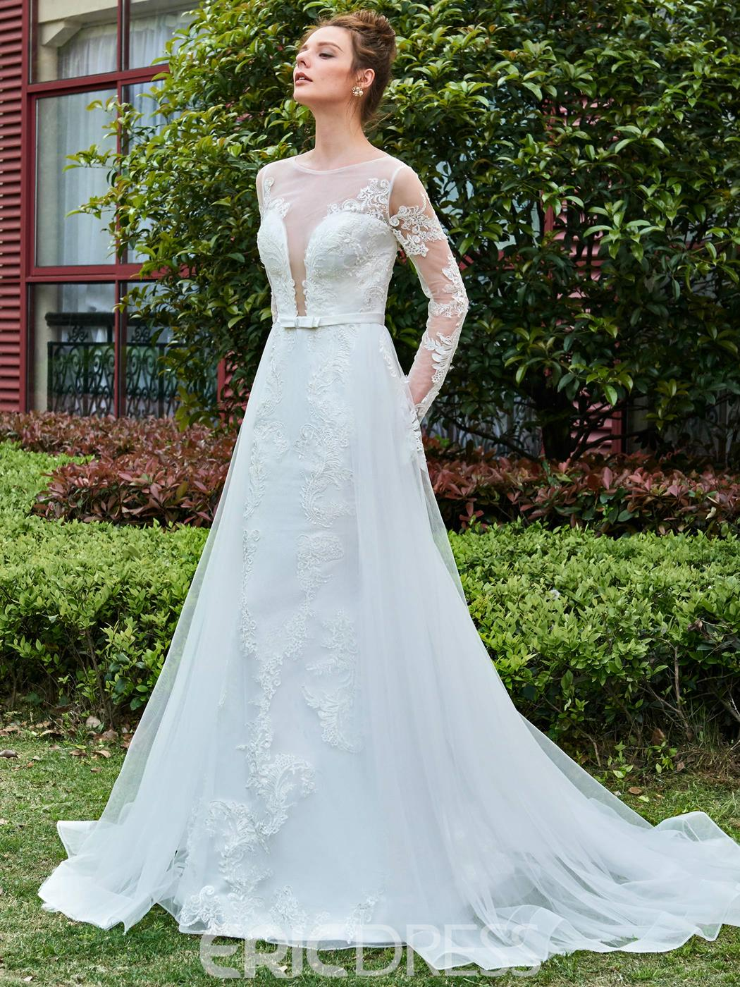 Ericdress Sexy Long Sleeves Applique Tulle Wedding Dress with Train