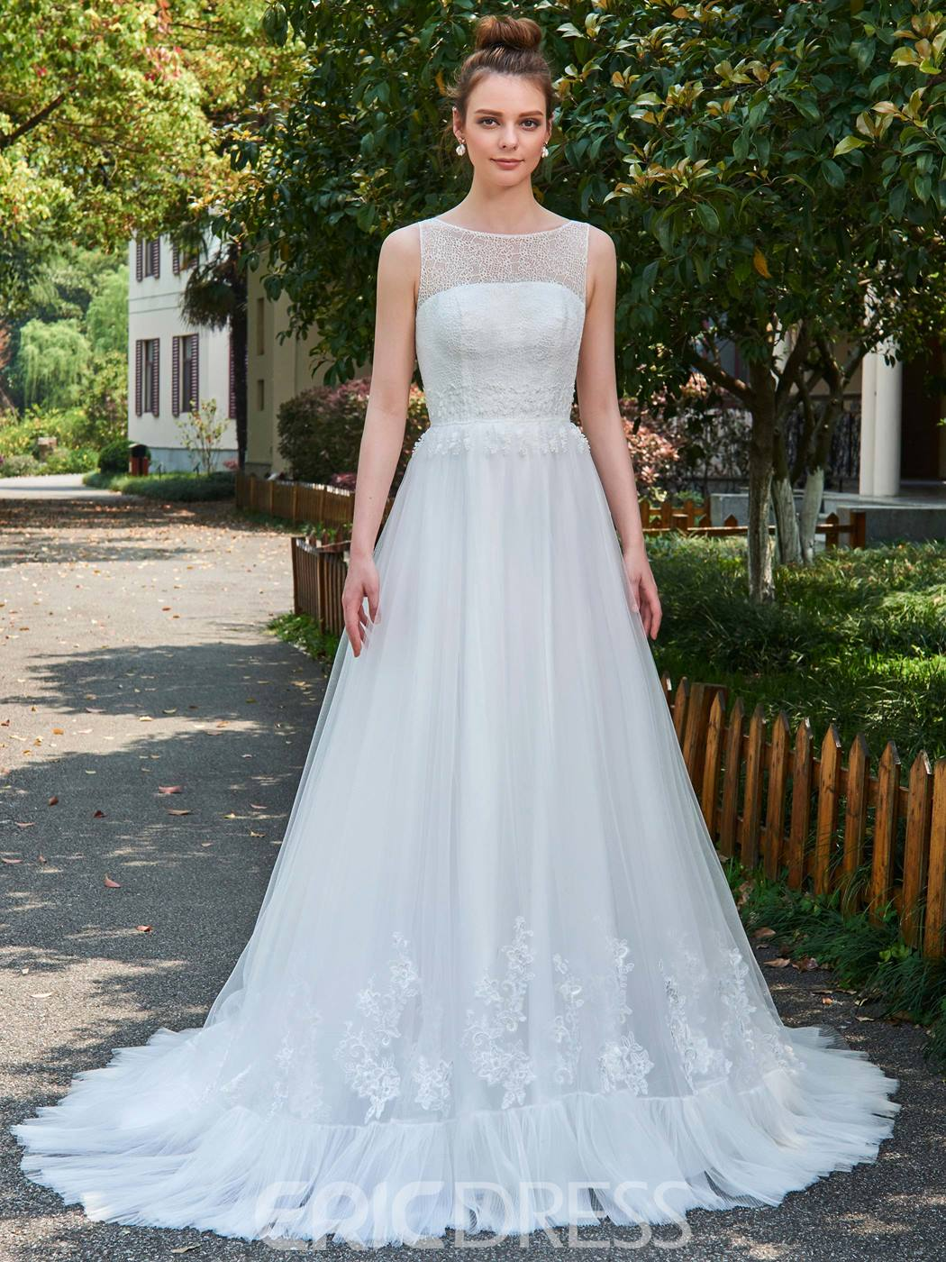 Ericdress A-Line Bateau Sleeveless Tulle Wedding Dress