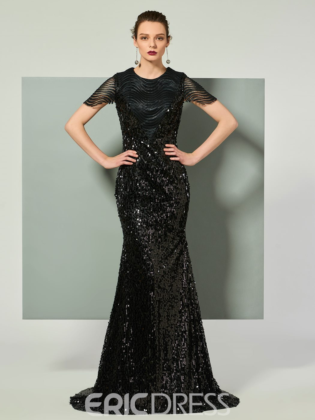 Ericdress Cap Sleeve Sequin Long Mermaid Evening Dress With Sweep Train