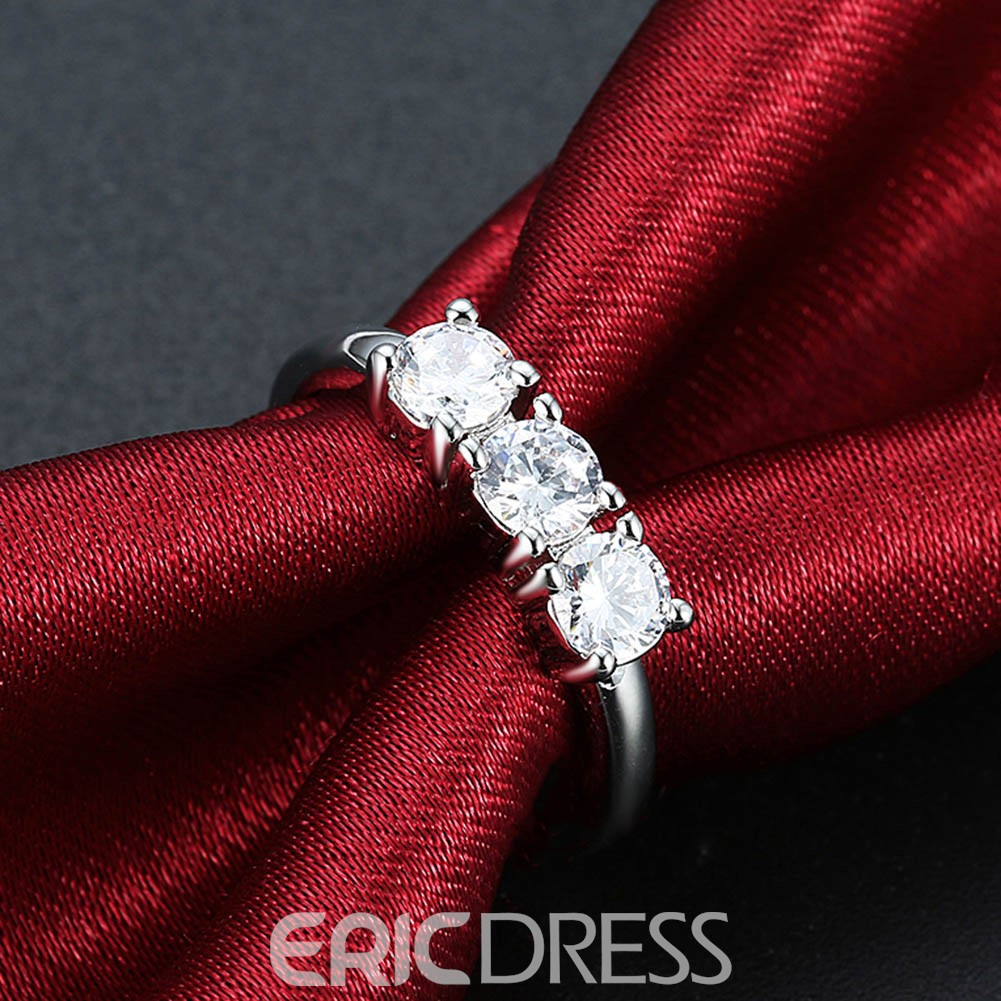 Ericdress Three Sapphires Round Cute Wedding Ring