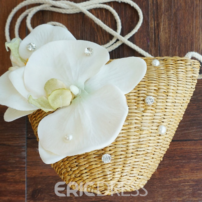 Ericdress Ladylike Butterfly Orchid Straw Shoulder Bag