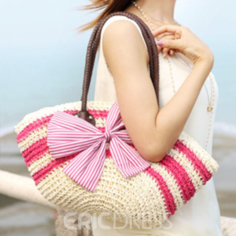 Ericdress Pastorale Bowtie Stripe Straw Shoulder Bag