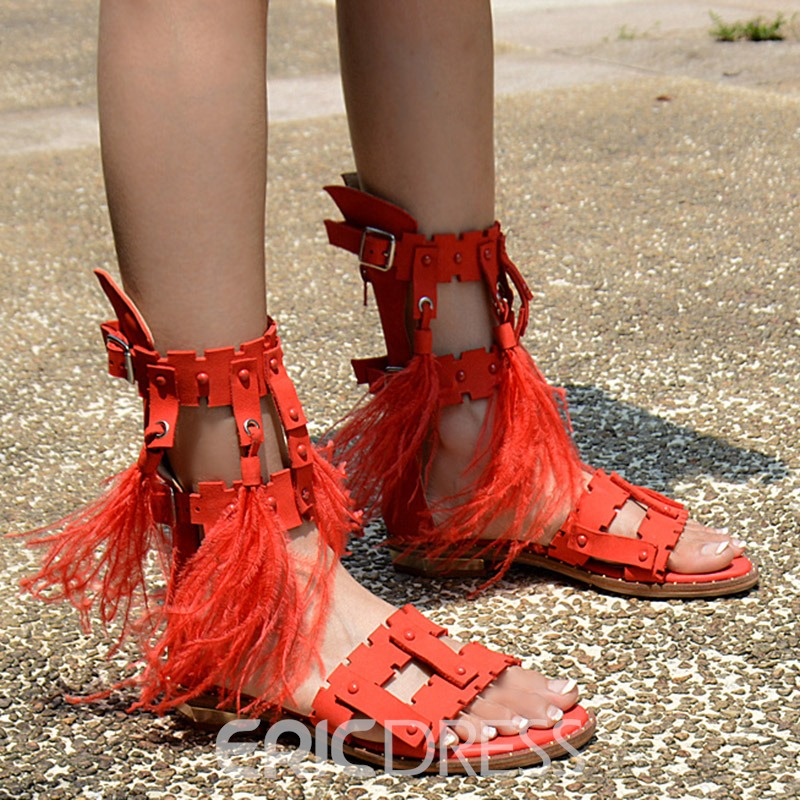 Ericdress Red Roman Tassels Flat Sandals
