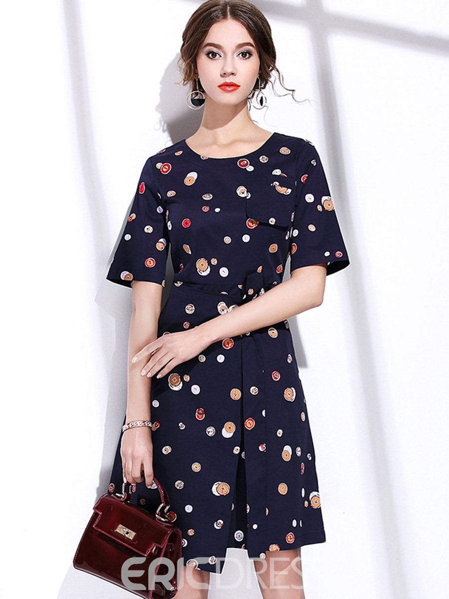 Ericdress Simple Print Pocket Lace-Up A Line Dress