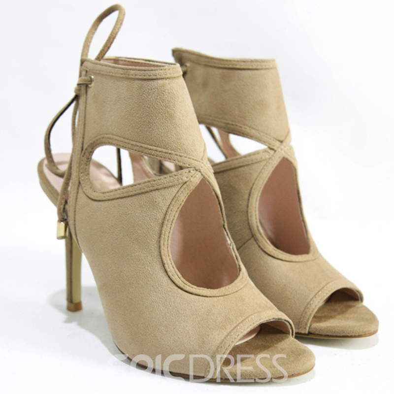 Ericdress Sexy PU Peep Toe Backless Stiletto Sandals