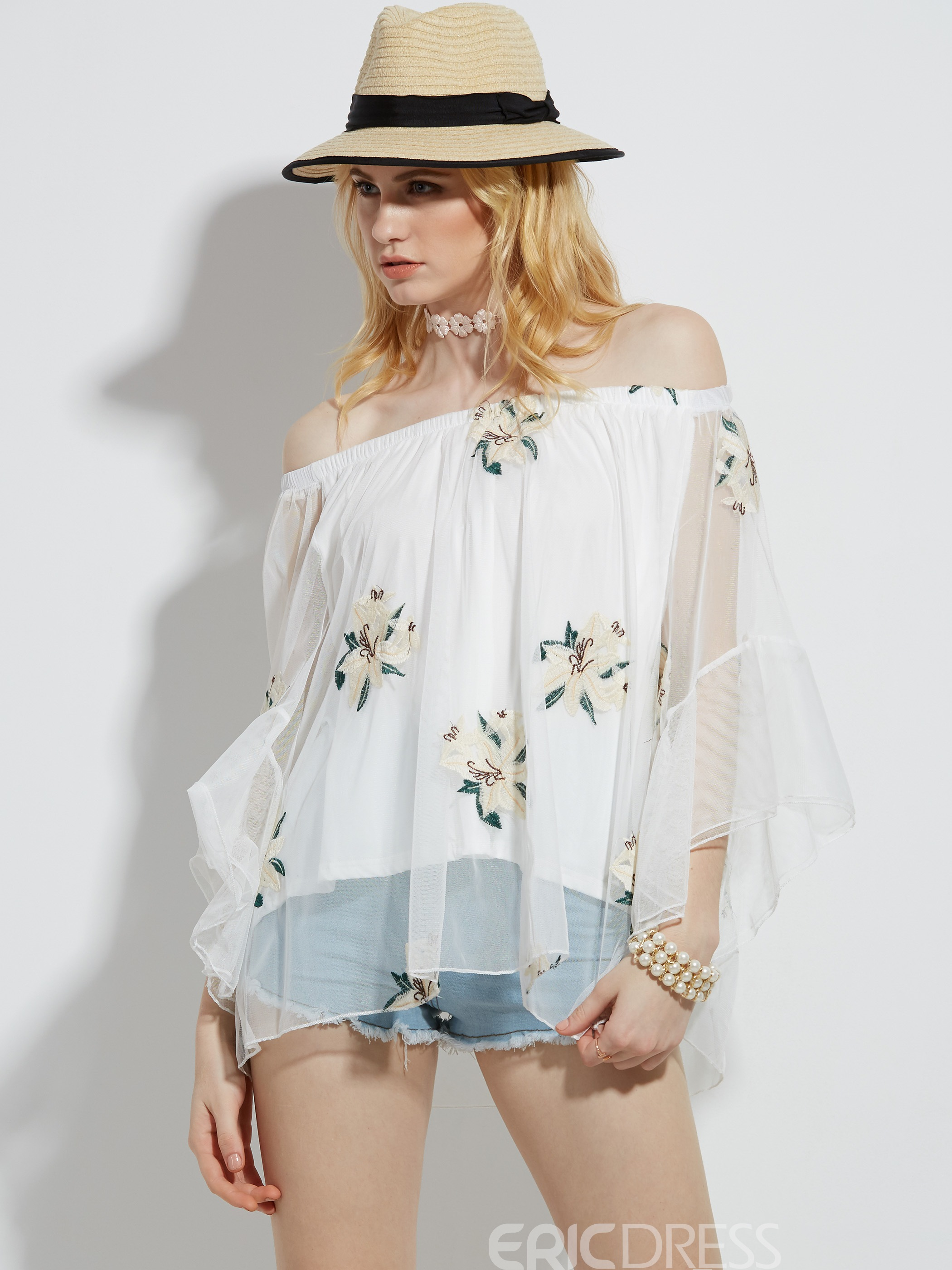 Ericdress Loose Floral Embroidery See-Through Blouse